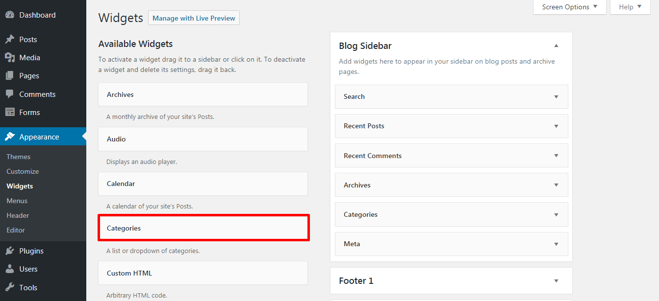 Adding Widget in the Footer 1 - How to add a widget on your WordPress website footer? (Step by Step Guide)