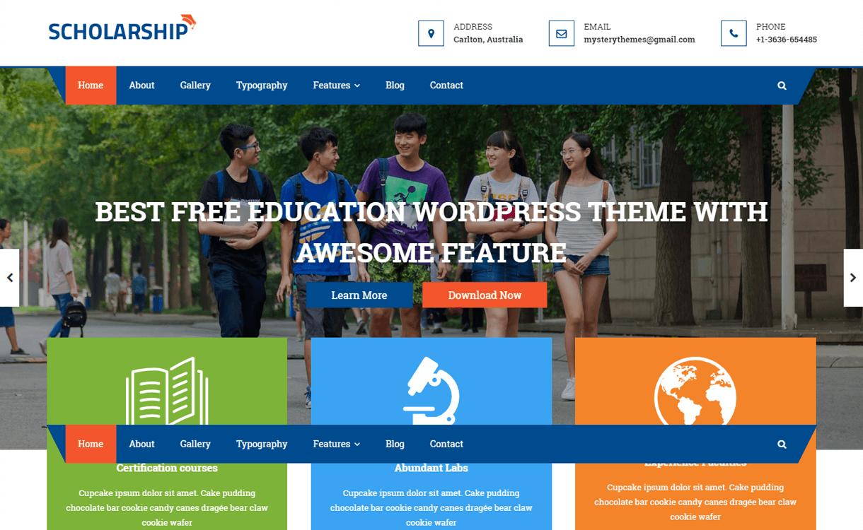 scholarship best free wordpress themes january 2018 - 21+ Best Free WordPress Themes January 2018