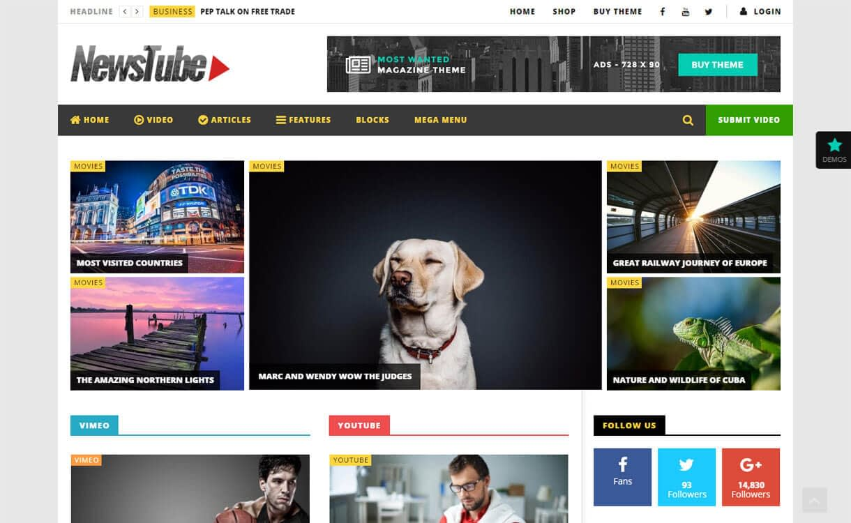 NewsTube - 15+ Best Responsive WordPress Video Themes 2019