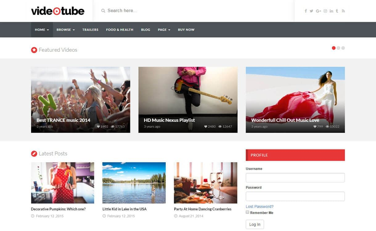 Video Tube - 15+ Best Responsive WordPress Video Themes 2019