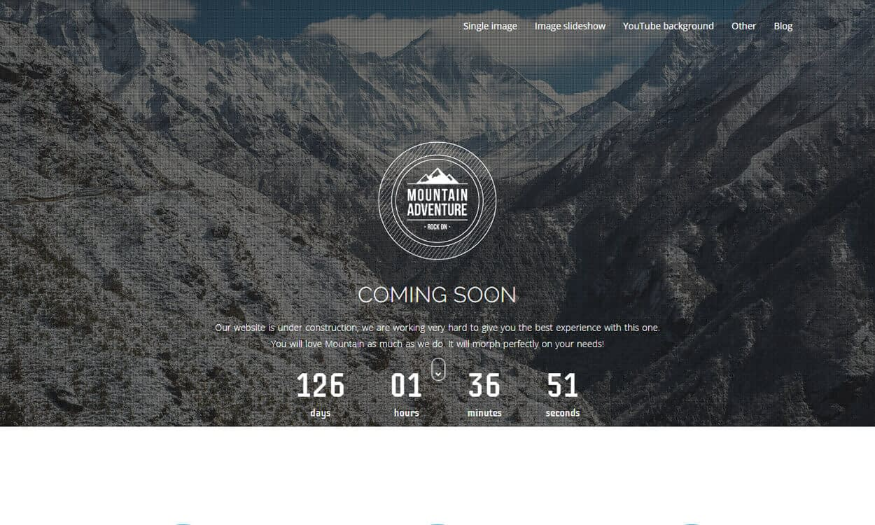 moutain - 10+ Best Coming Soon and Under Maintenance WordPress Themes and Templates(Premium Version)