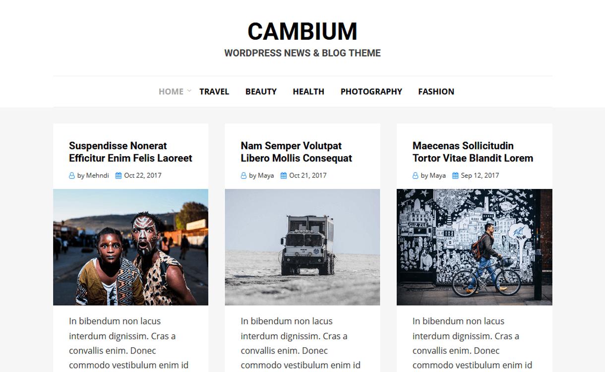 cambium best free wordpress themes jamuary 2018 - 21+ Best Free WordPress Themes January 2018