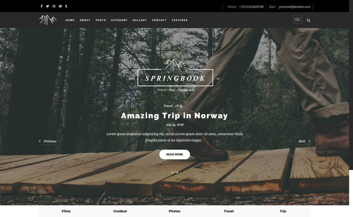 springbook best travel blogs wordpress themes 1 - 21+ Best WordPress Travel Blog Themes 2019