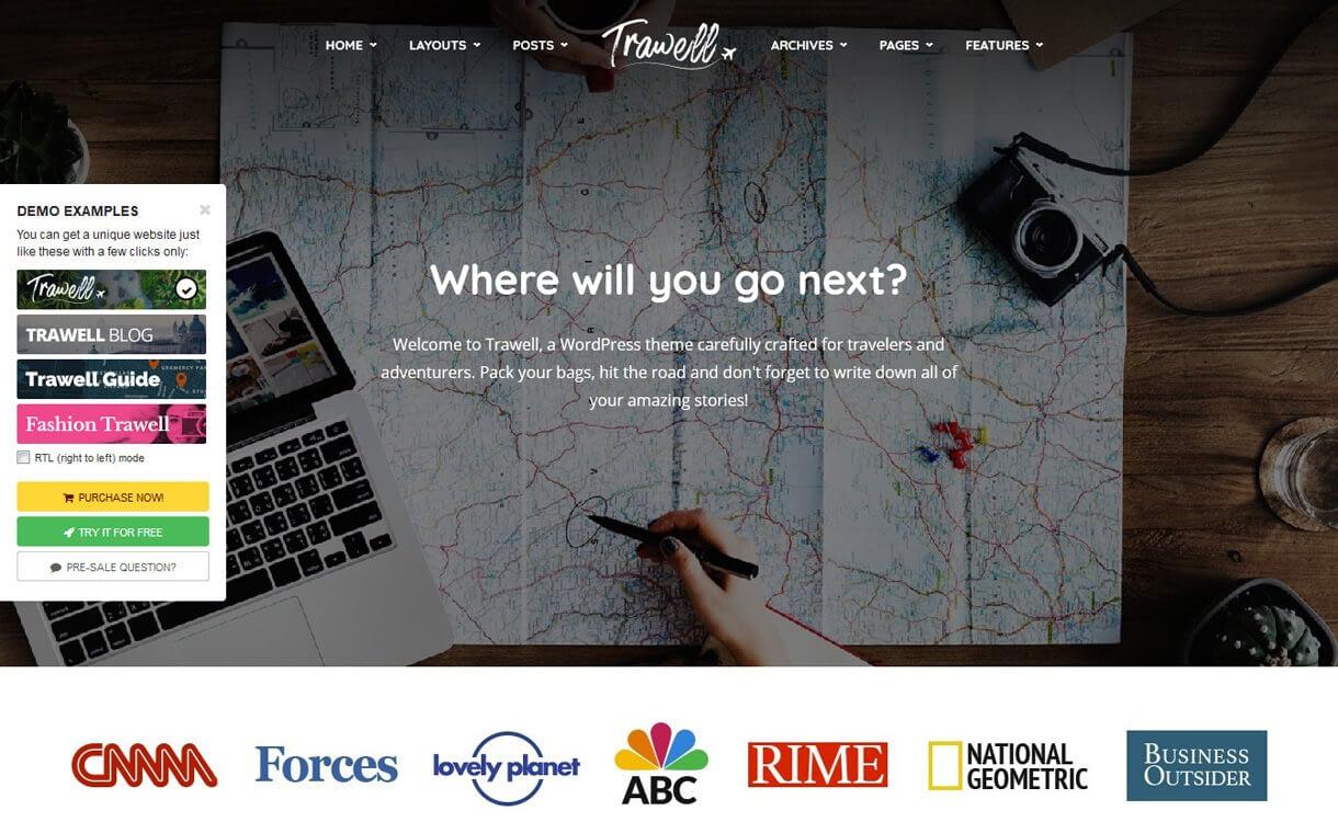 trawell best travel blogs wordpress themes 1 - 21+ Best WordPress Travel Blog Themes 2019
