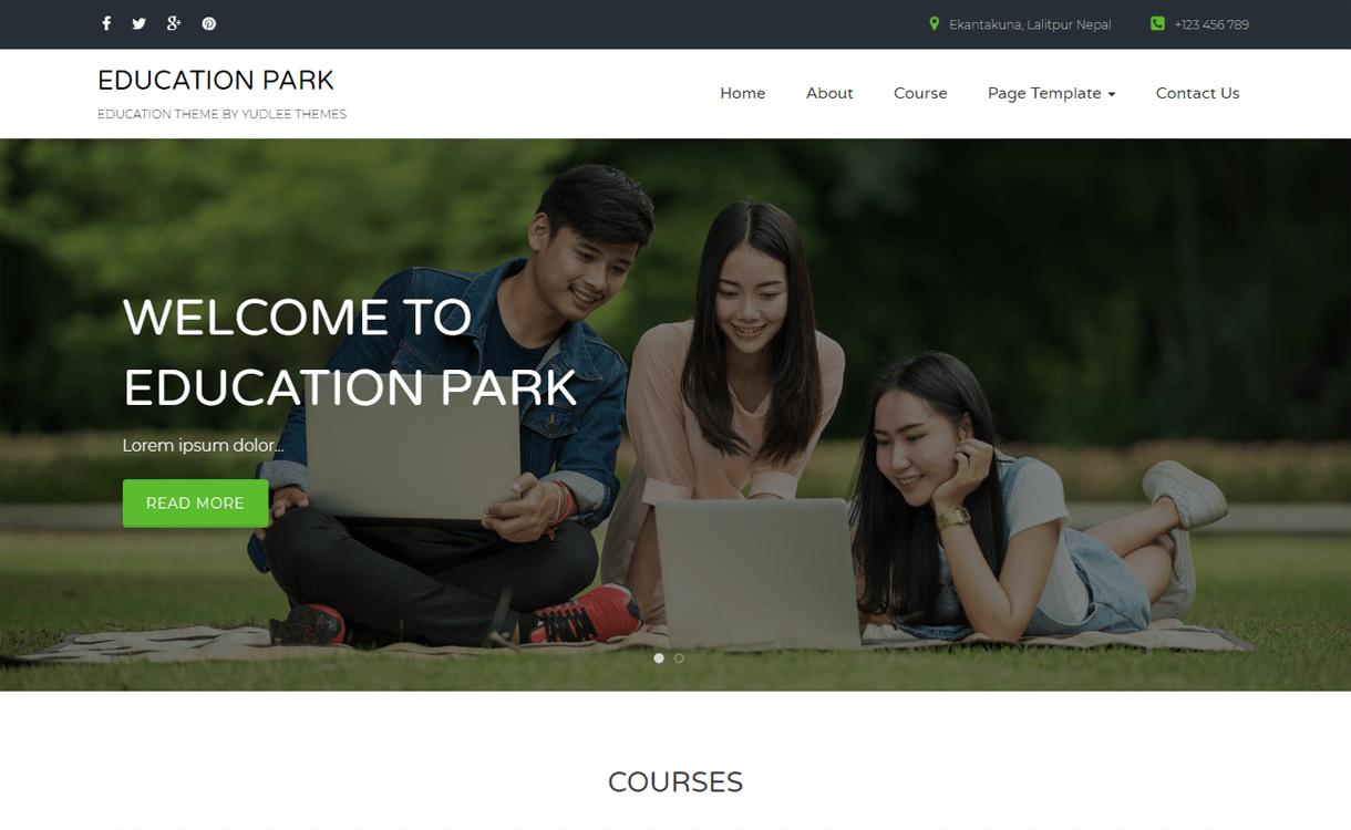 education park best free wordpress themes january 2018 - 21+ Best Free WordPress Themes January 2018