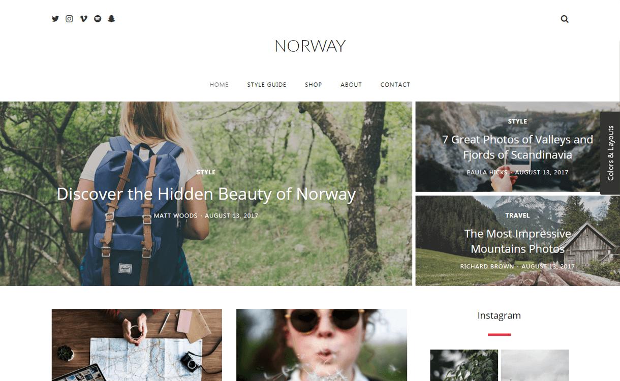 norway best travel blogs wordpress themes 1 - 21+ Best WordPress Travel Blog Themes 2019