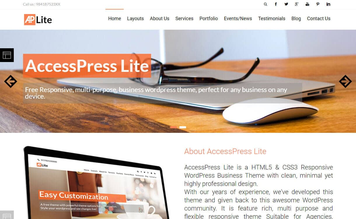 AccessPress Lite 1 - 50+ Best Free Responsive WordPress Themes 2019