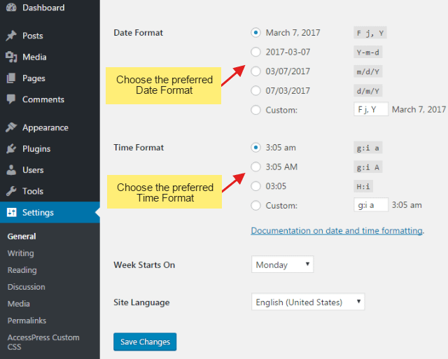step2 5 - How to change the default date/time format of WordPress website