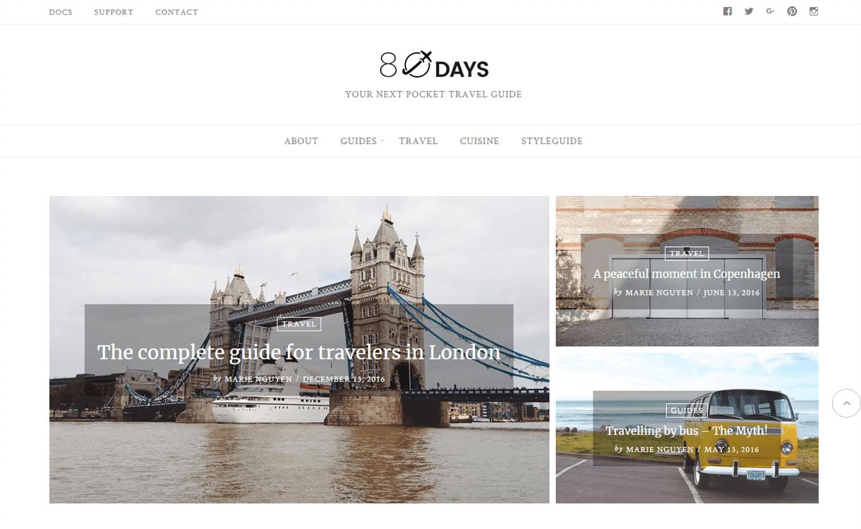 eightdays best travel blogs wordpress themes 1 - 21+ Best WordPress Travel Blog Themes 2019