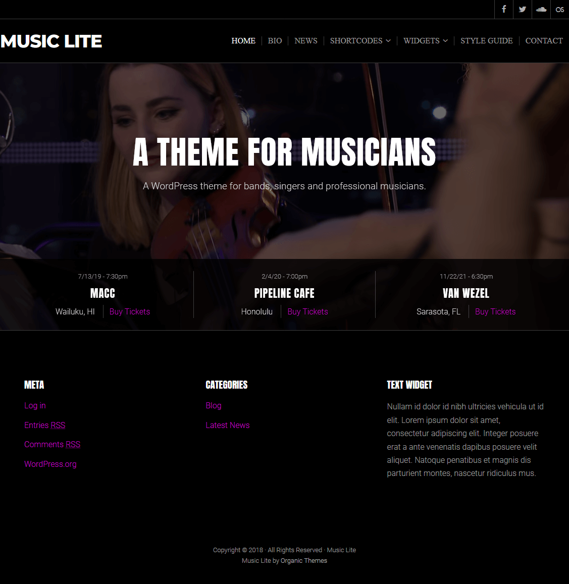 music lite best free wordpress themes january 2018 - 21+ Best Free WordPress Themes January 2018