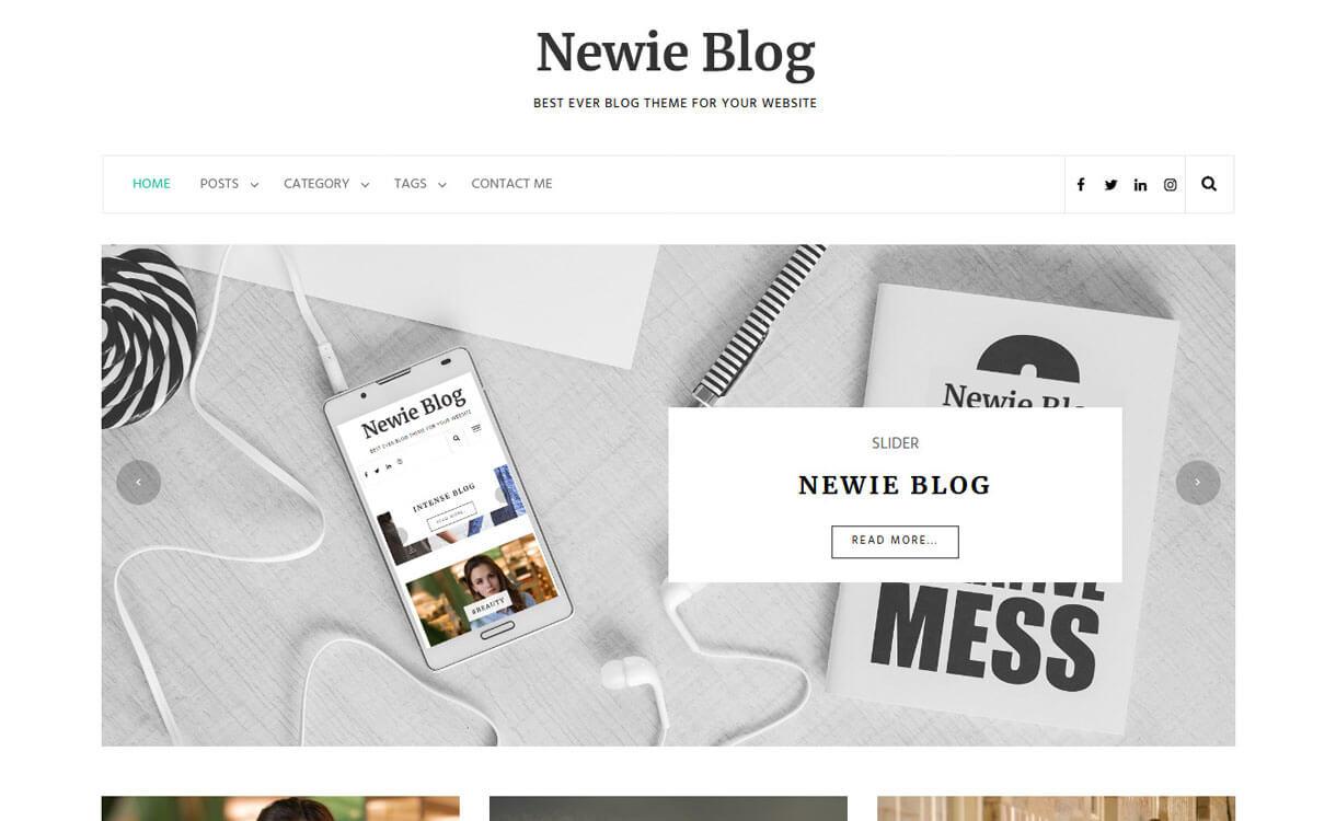 newie best free wordpress themes january 2018 - 21+ Best Free WordPress Themes January 2018