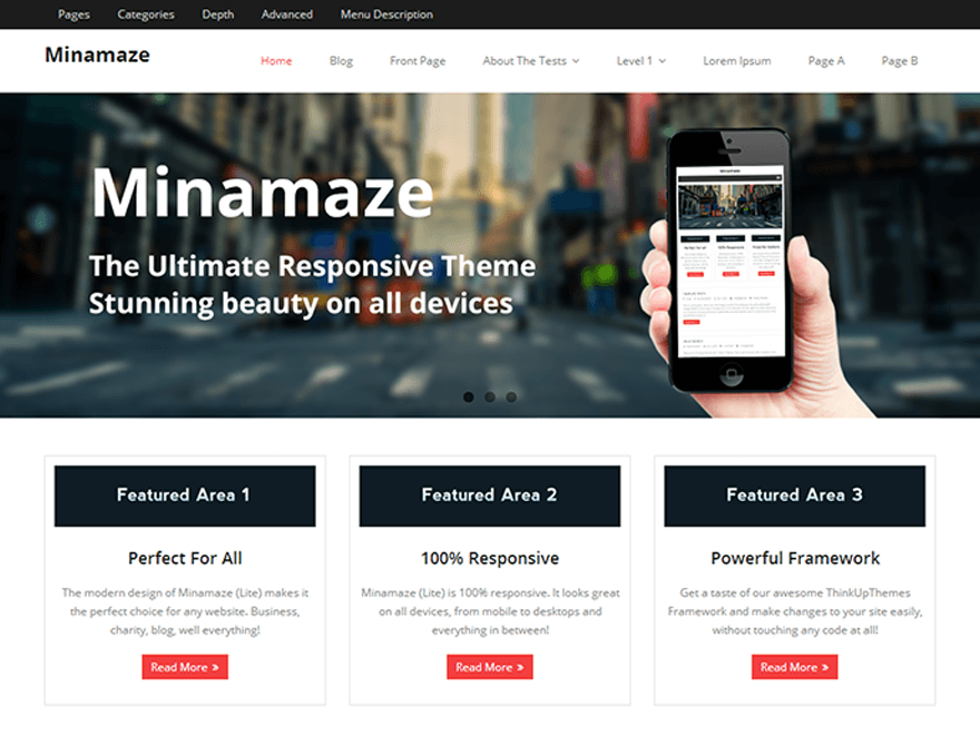 Minamaze - 50+ Best Free Responsive WordPress Themes 2019