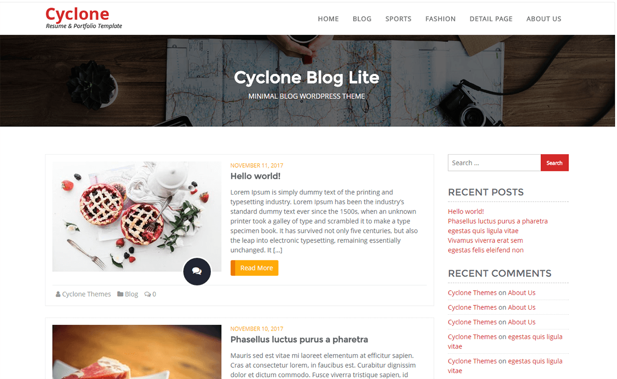 cyclone blog free wordpress theme - 21+ Best Free WordPress Themes November 2017