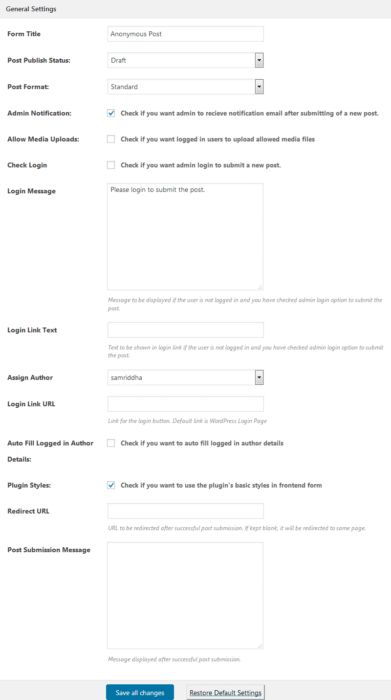 accesspress anonymous post general settings - How to Allow Frontend Posting (with or without login) on your WordPress Website? (Step by Step Guide)