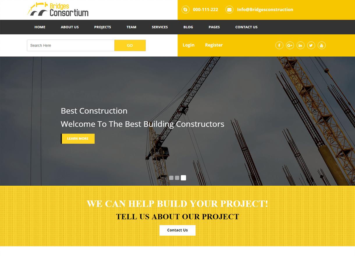 The Bridges-Best Premium WordPress Construction Company Themes 2018