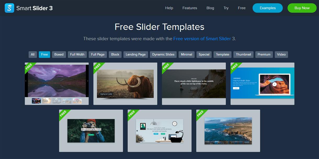 7 Pre-Designed Templates Smart Slider 3