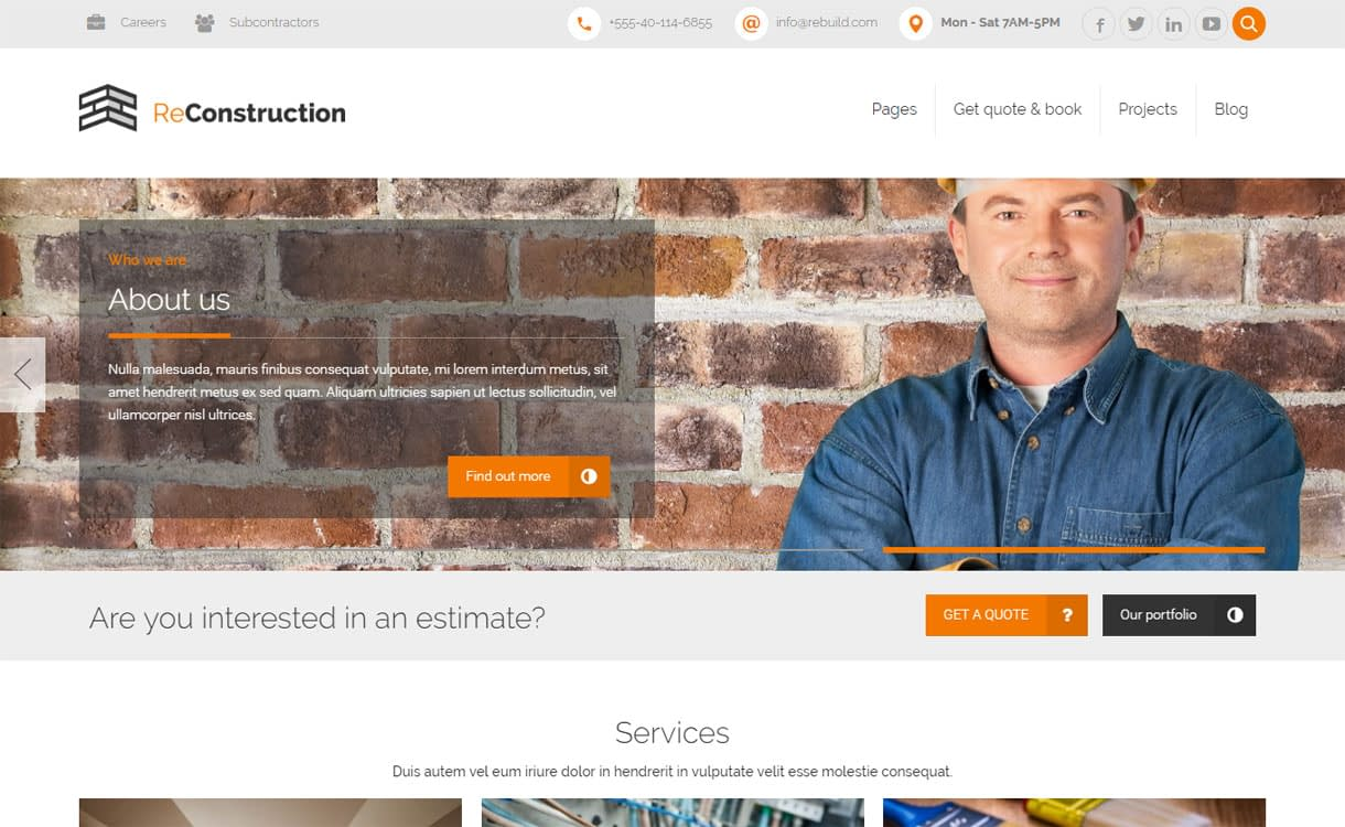 ReConstruction - Best Premium WordPress Construction Company Themes 2018