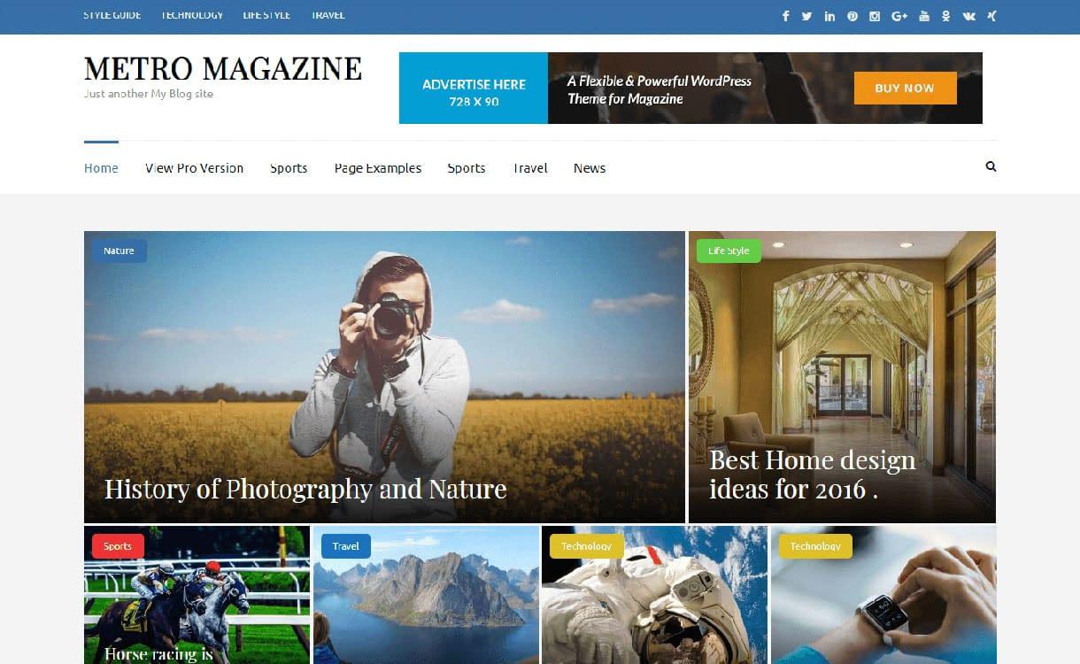 Metro Magazine - WordPress adsense theme