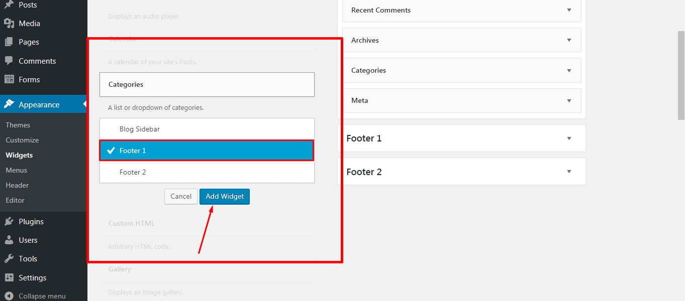 Adding Widget in the Footer
