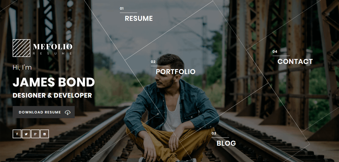 Mefolio - Best Premium Resume WordPress Theme