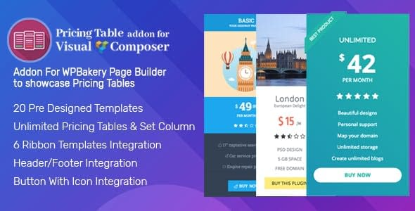 Pricing Tables Addon For Visual Composer