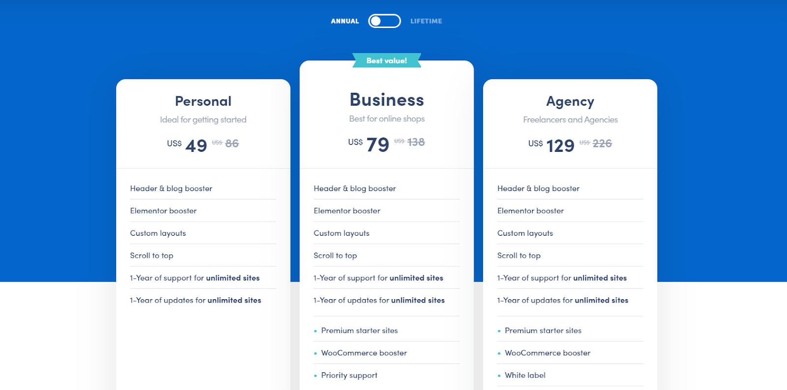 Neve WordPress Theme - Pricing