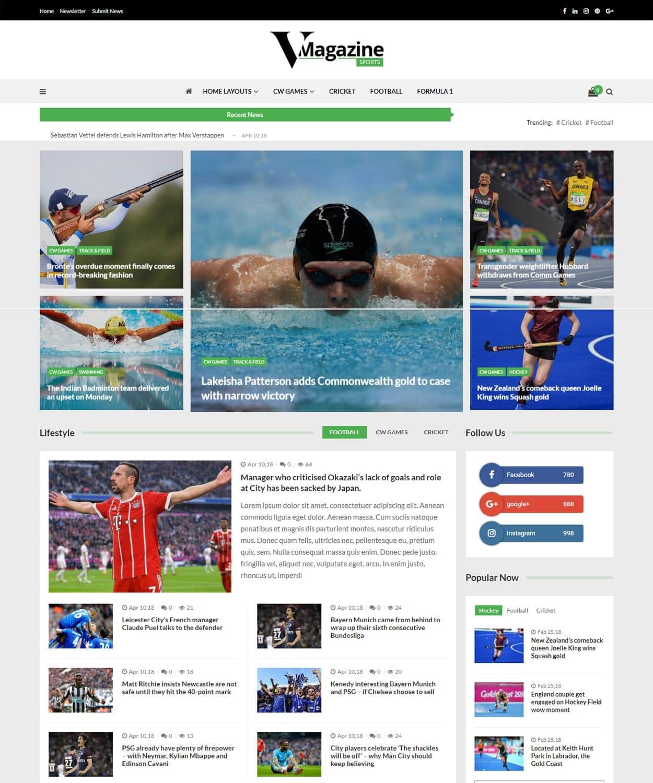 Sports Magazine Demo - WordPress Magazine Theme
