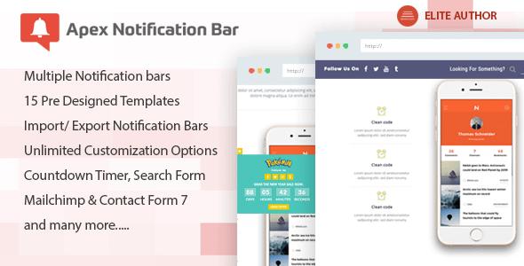 Apex Notification Bar - Responsive Notification Bar Plugin