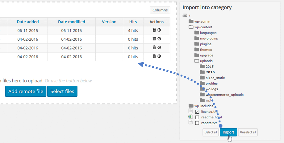 WP File Download Feature - File Importer