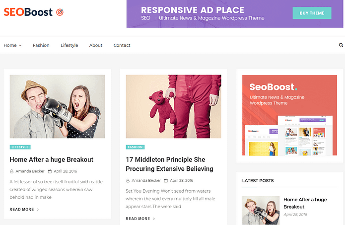 Seoboost - Free News and Magazine WordPress Theme