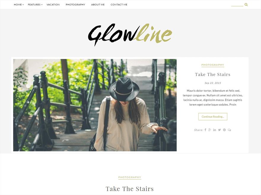 GlowLine - Free Photography WordPress Theme