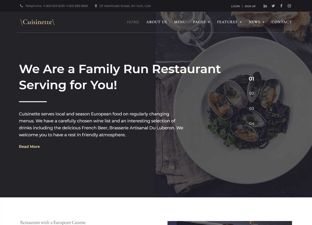Cuisinette-Best Cafe and Restaurant WordPress Themes