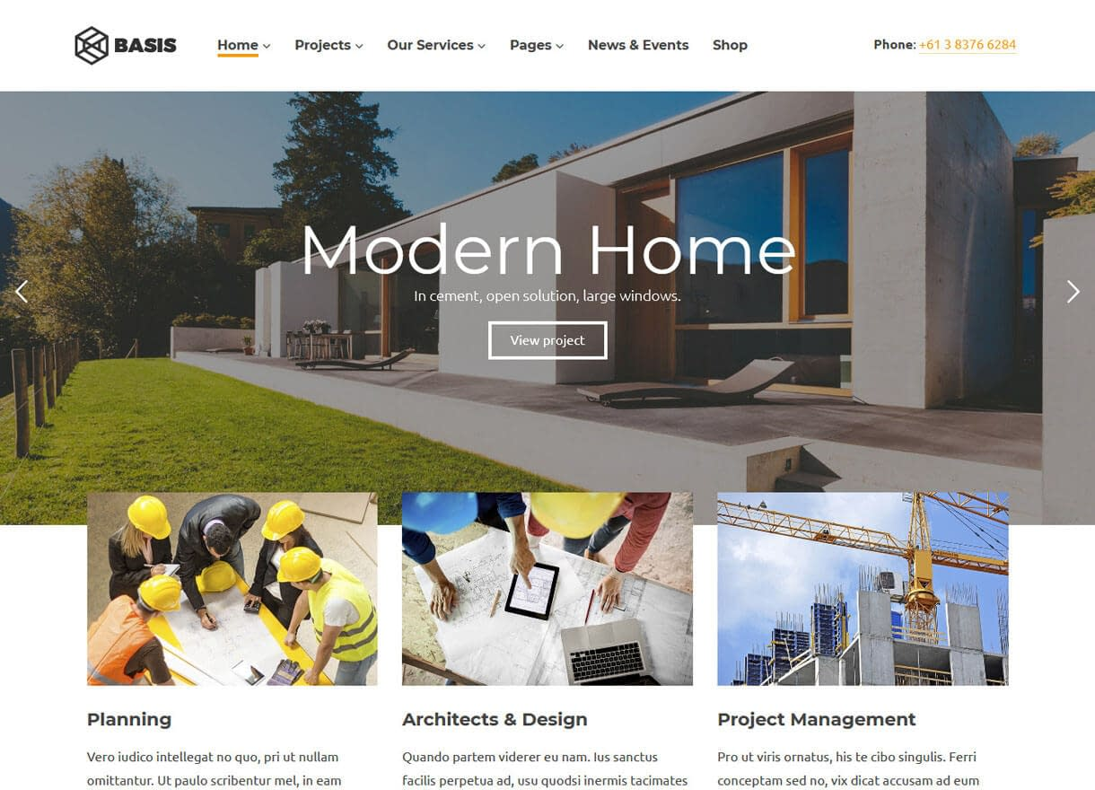 Basis-Best Premium WordPress Construction Company Themes 2018