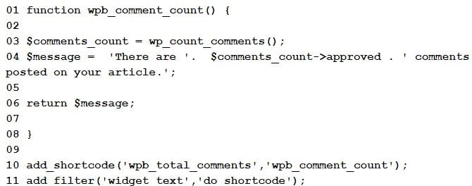 Display The Total Number Of Comments In WordPress.
