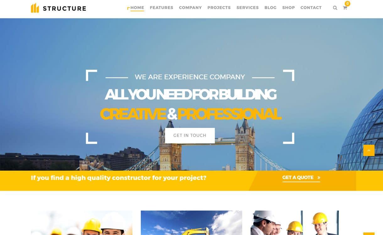 Structure - Best Premium WordPress Construction Company Themes 2018