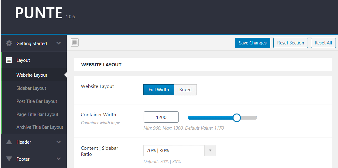 Punte - Layout Options