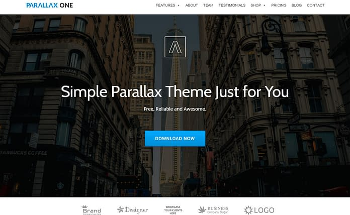 Parallax One - Best Free One Page WordPress Themes 2017