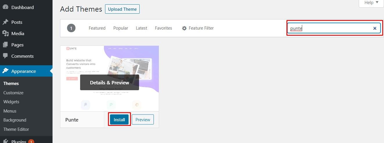Punte WordPress Theme - Installation