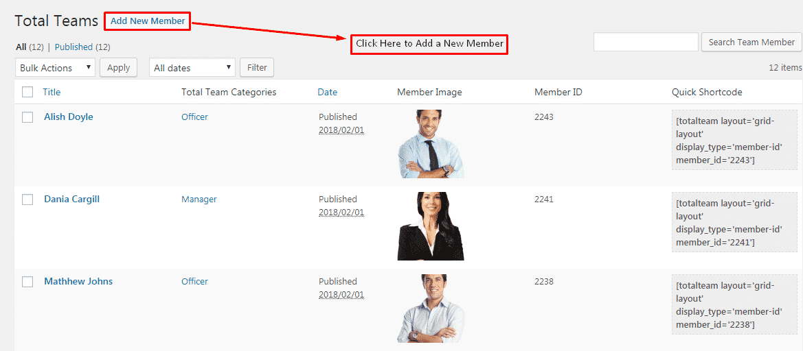 Total Team Lite: Team Members