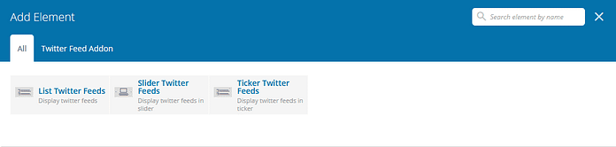 Twitter Feed Addon for Visual Composer: Twitter Feed View