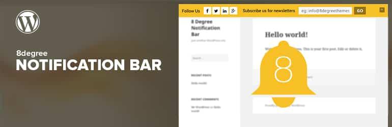 8Degree Notification Bar - Best Free WordPress Notification Bar Plugins