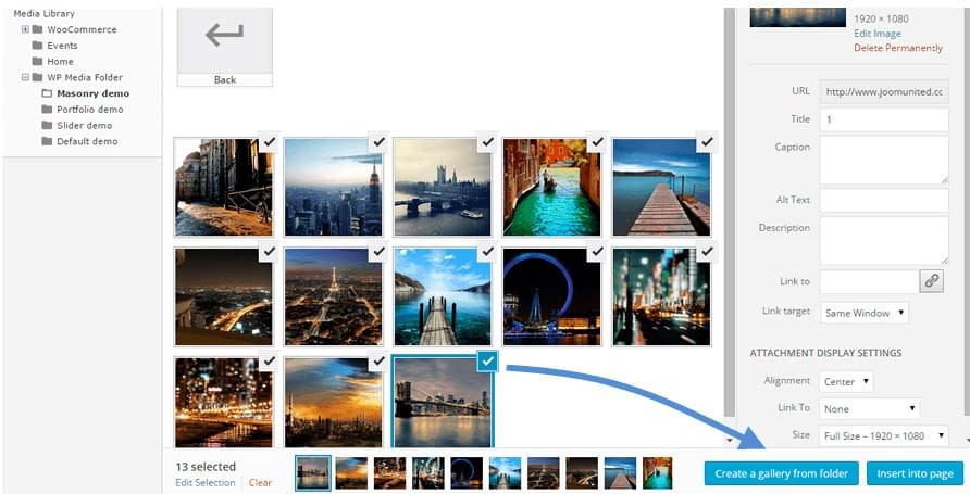WP Media Folder feature - Create galleries from folder