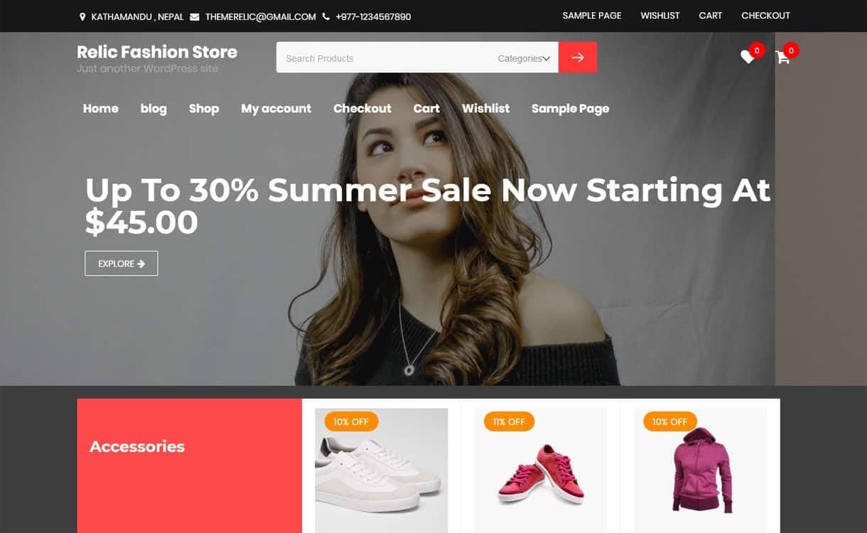 Relic Fashion Store-Best Free WordPress Themes May 2018