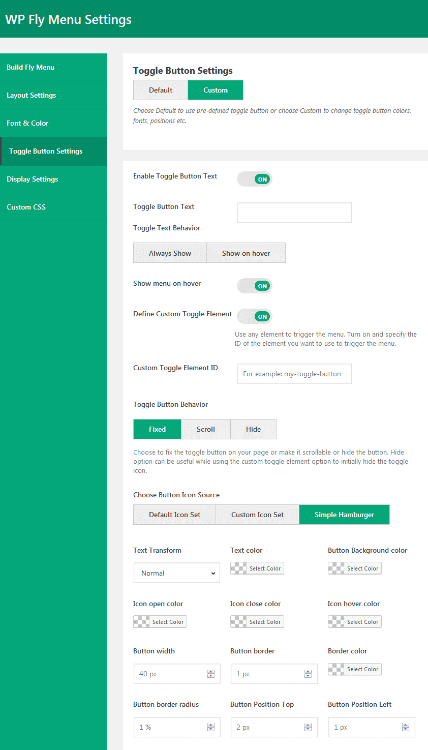 WP Fly Menu: Toggle Button Settings