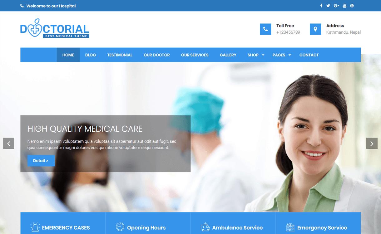 Doctorial-Best Free WordPress Health Medical Theme