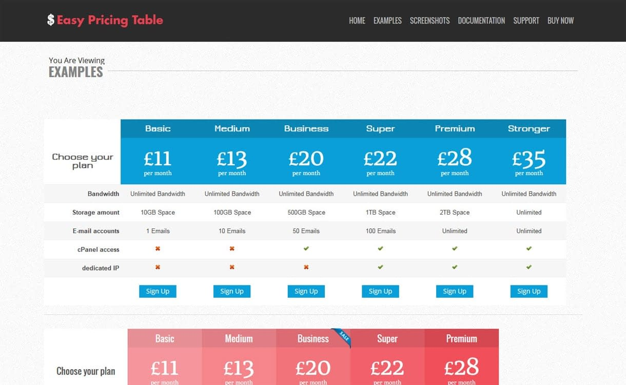 Easy Pricing Table - - WordPress Pricing Table Plugins