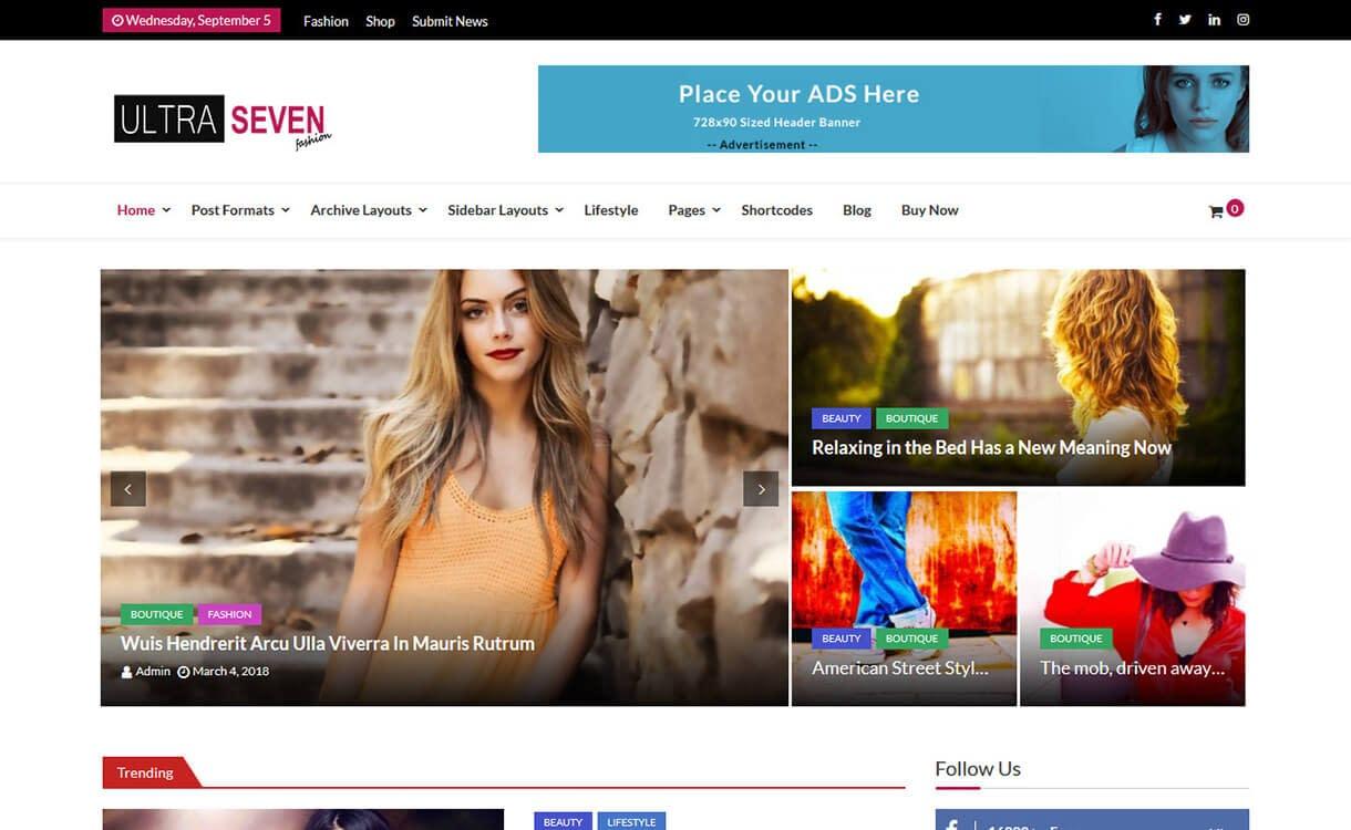 Ultra Seven - Best Free WordPress Themes August