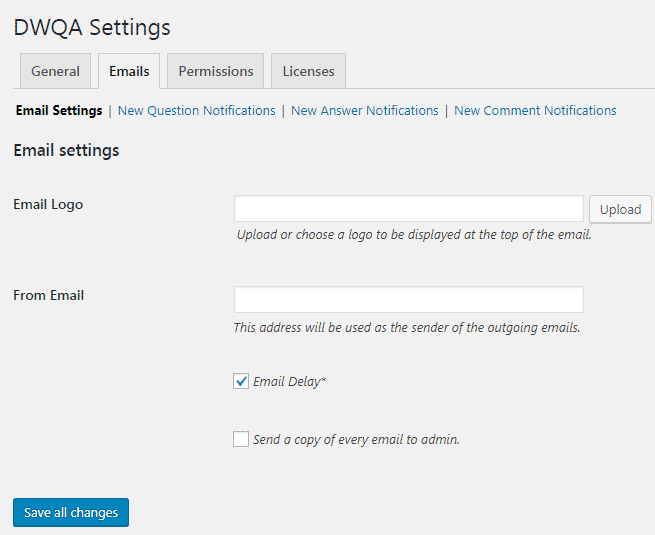 DWQA Emails Settings