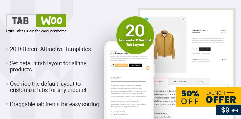 50% Off on TabWoo – Extra Tab Plugin for WooCommerce
