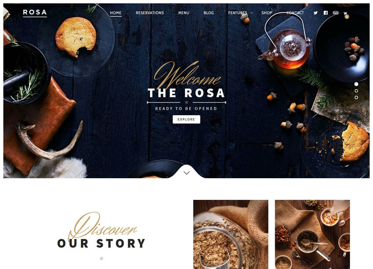 Rosa-Best Cafe and Restaurant WordPress Themes